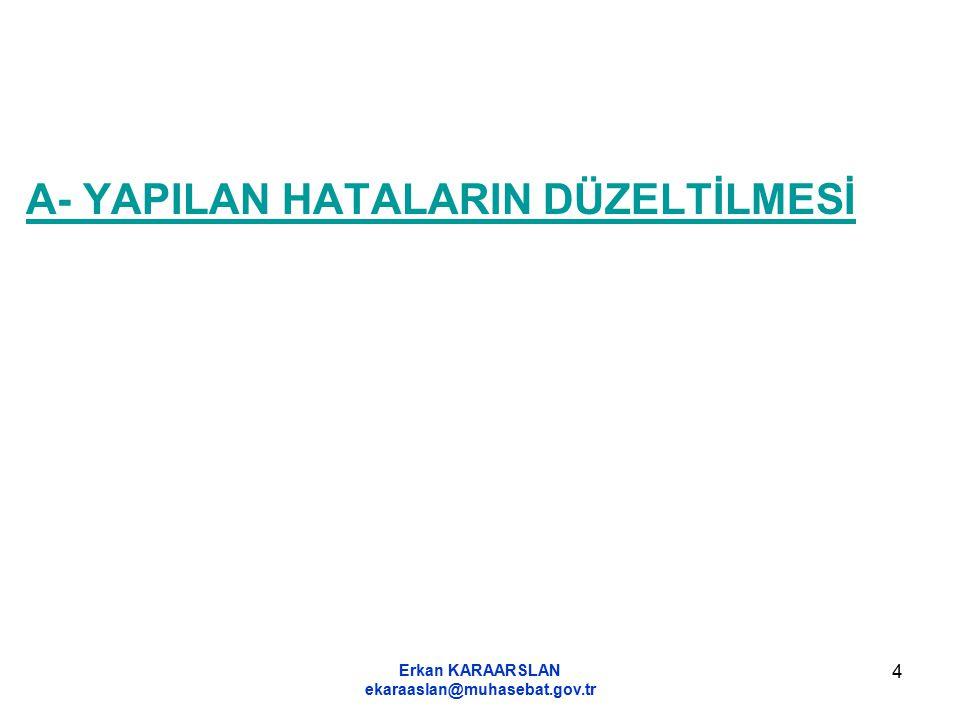 Erkan KARAARSLAN ekaraaslan@muhasebat.gov.tr 5 B- DÖNEM SONU İŞLEMLERİ ÖNCESİNDE YAPILMASI ZORUNLU OLAN GÜN SONU, HAFTA SONU VE AY SONU İŞLEMLERİNİN YAPILMASI