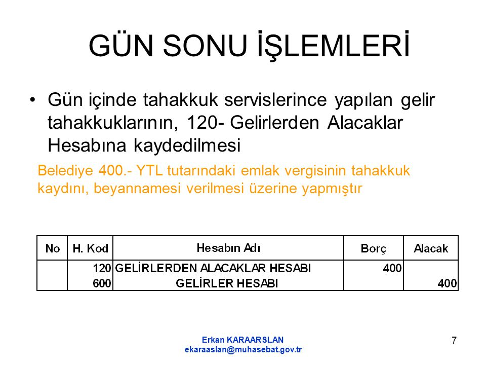 Erkan KARAARSLAN ekaraaslan@muhasebat.gov.tr 7 GÜN SONU İŞLEMLERİ Gün içinde tahakkuk servislerince yapılan gelir tahakkuklarının, 120- Gelirlerden Alacaklar Hesabına kaydedilmesi Belediye 400.- YTL tutarındaki emlak vergisinin tahakkuk kaydını, beyannamesi verilmesi üzerine yapmıştır