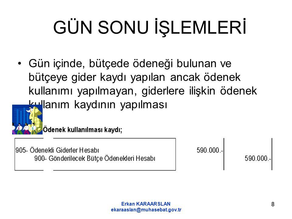 Erkan KARAARSLAN ekaraaslan@muhasebat.gov.tr 8 GÜN SONU İŞLEMLERİ Gün içinde, bütçede ödeneği bulunan ve bütçeye gider kaydı yapılan ancak ödenek kull