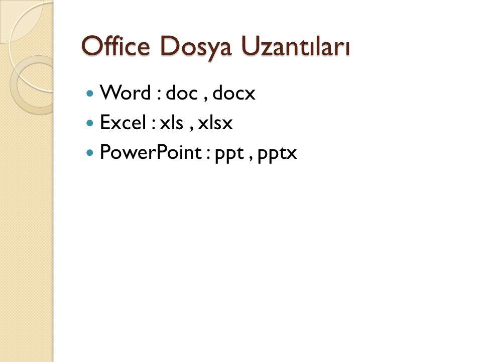 Office Dosya Uzantıları Word : doc, docx Excel : xls, xlsx PowerPoint : ppt, pptx