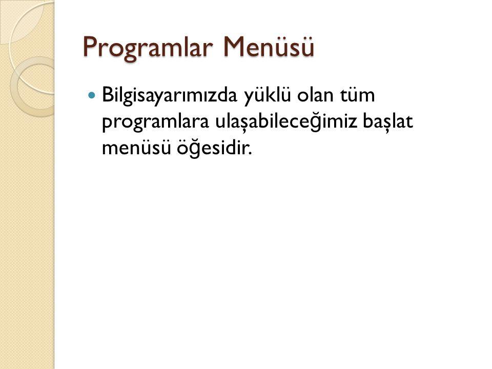 Programlar Menüsü Bilgisayarımızda yüklü olan tüm programlara ulaşabilece ğ imiz başlat menüsü ö ğ esidir.