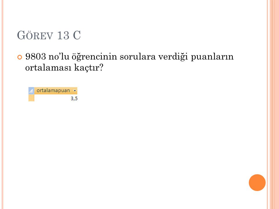 G ÖREV 13 C 9803 no'lu öğrencinin sorulara verdiği puanların ortalaması kaçtır