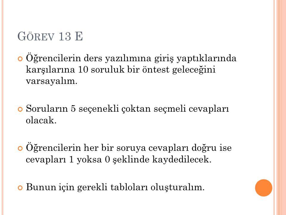 G ÖREV 13 E Öğrencilerin ders yazılımına giriş yaptıklarında karşılarına 10 soruluk bir öntest geleceğini varsayalım.