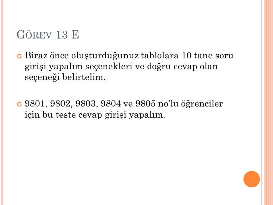 G ÖREV 13 E Her bir öğrencinin toplam puanını listeleyin.