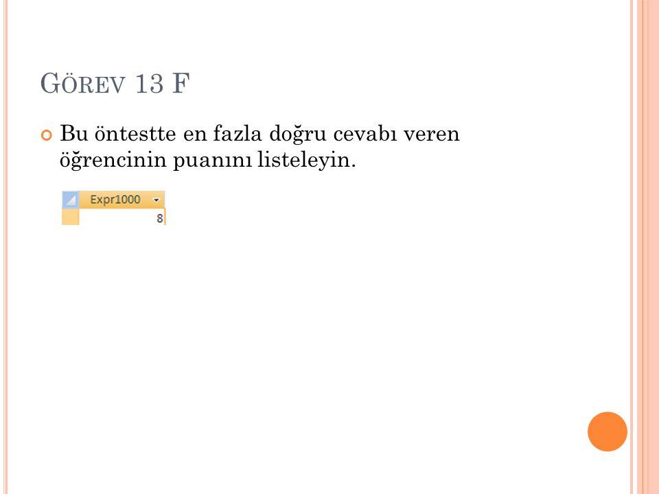 G ÖREV 13 F Bu öntestte en fazla doğru cevabı veren öğrencinin puanını listeleyin.