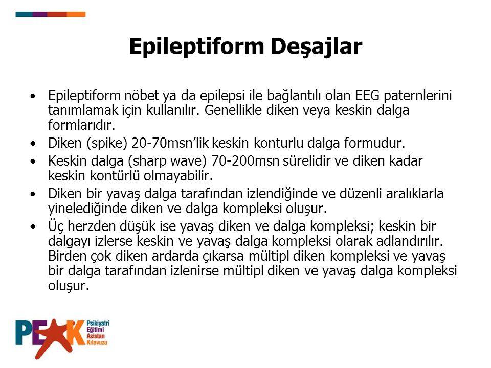 Epileptiform Deşajlar Epileptiform nöbet ya da epilepsi ile bağlantılı olan EEG paternlerini tanımlamak için kullanılır. Genellikle diken veya keskin