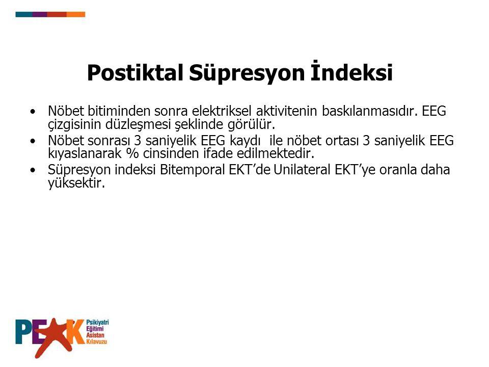 Postiktal Süpresyon İndeksi Nöbet bitiminden sonra elektriksel aktivitenin baskılanmasıdır. EEG çizgisinin düzleşmesi şeklinde görülür. Nöbet sonrası