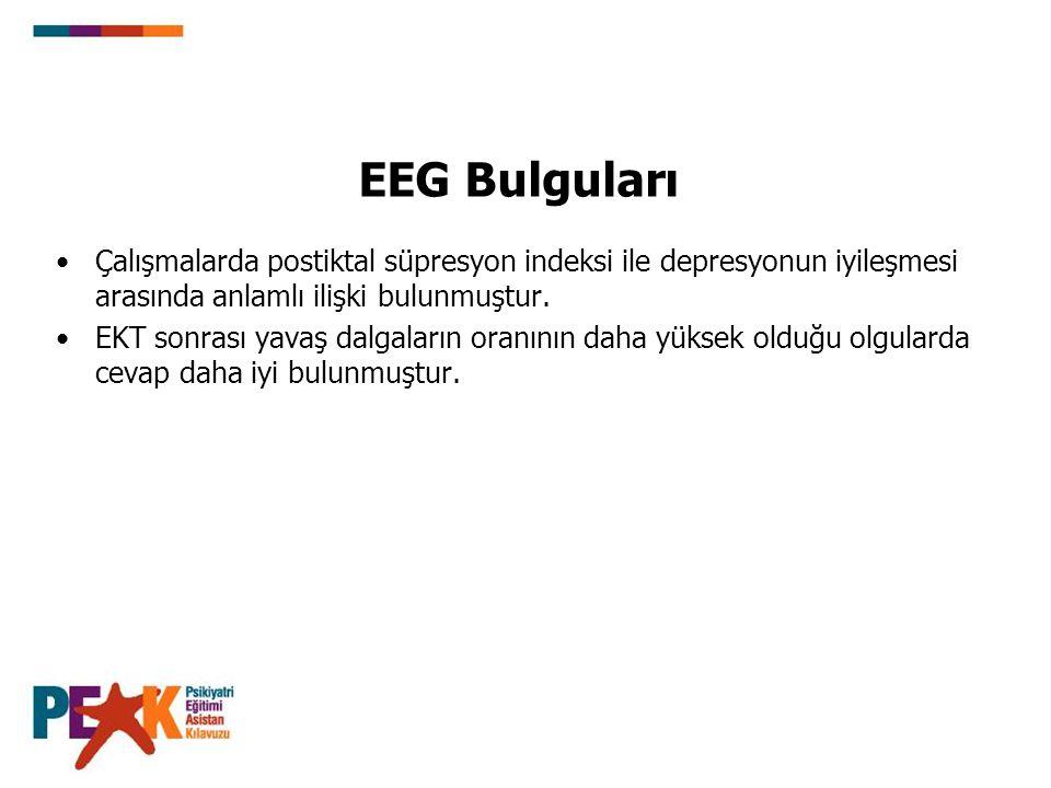 EEG Bulguları Çalışmalarda postiktal süpresyon indeksi ile depresyonun iyileşmesi arasında anlamlı ilişki bulunmuştur. EKT sonrası yavaş dalgaların or