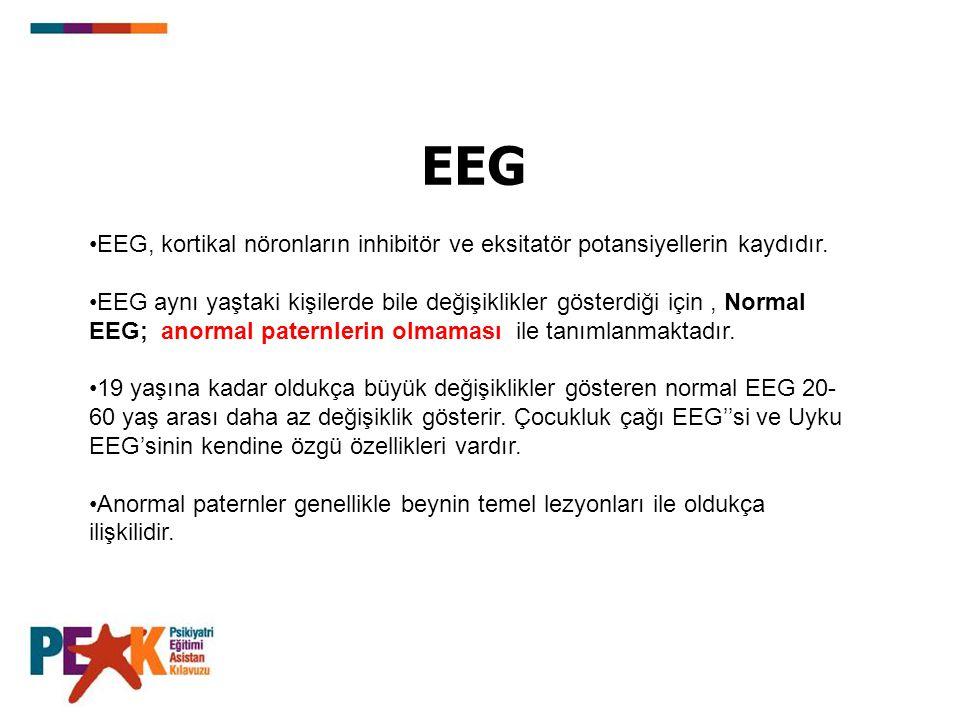 EEG EEG, kortikal nöronların inhibitör ve eksitatör potansiyellerin kaydıdır. EEG aynı yaştaki kişilerde bile değişiklikler gösterdiği için, Normal EE