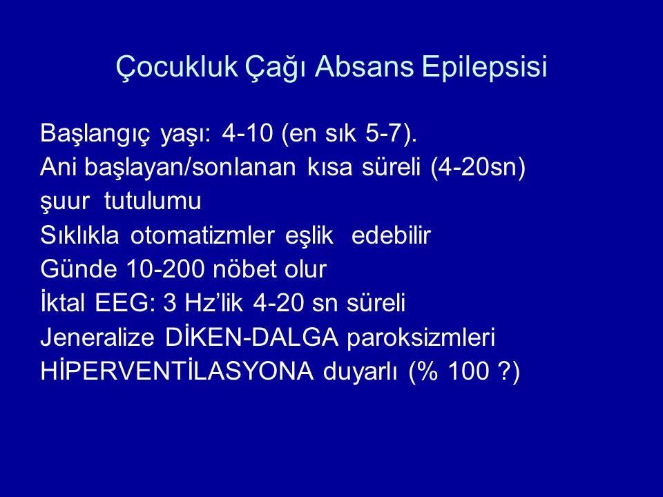Çocukluk Çağı Absans Epilepsisi Başlangıç yaşı: 4-10 (en sık 5-7). Ani başlayan/sonlanan kısa süreli (4-20sn) şuur tutulumu Sıklıkla otomatizmler eşli