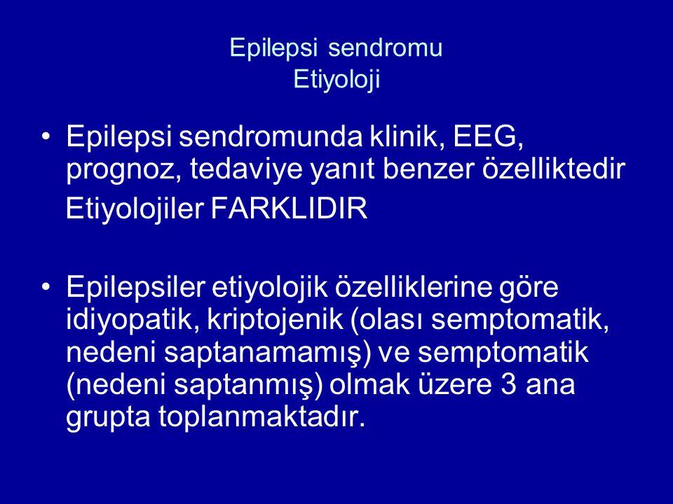 Epilepsi sendromu Etiyoloji Epilepsi sendromunda klinik, EEG, prognoz, tedaviye yanıt benzer özelliktedir Etiyolojiler FARKLIDIR Epilepsiler etiyoloji