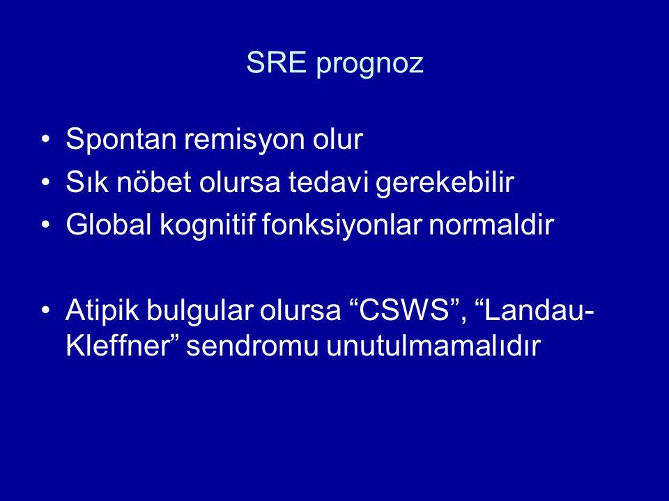 """SRE prognoz Spontan remisyon olur Sık nöbet olursa tedavi gerekebilir Global kognitif fonksiyonlar normaldir Atipik bulgular olursa """"CSWS"""", """"Landau- K"""