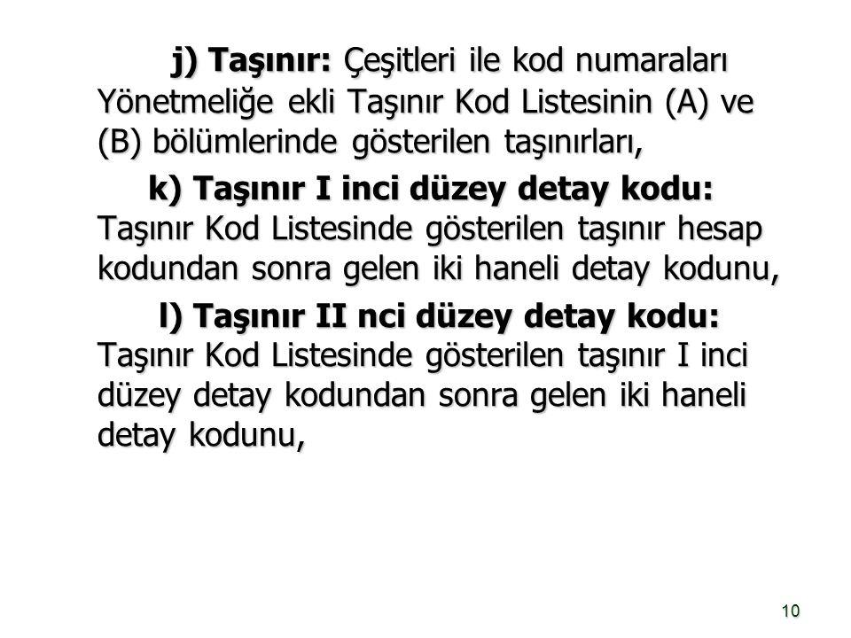 10 j) Taşınır: Çeşitleri ile kod numaraları Yönetmeliğe ekli Taşınır Kod Listesinin (A) ve (B) bölümlerinde gösterilen taşınırları, j) Taşınır: Çeşitl
