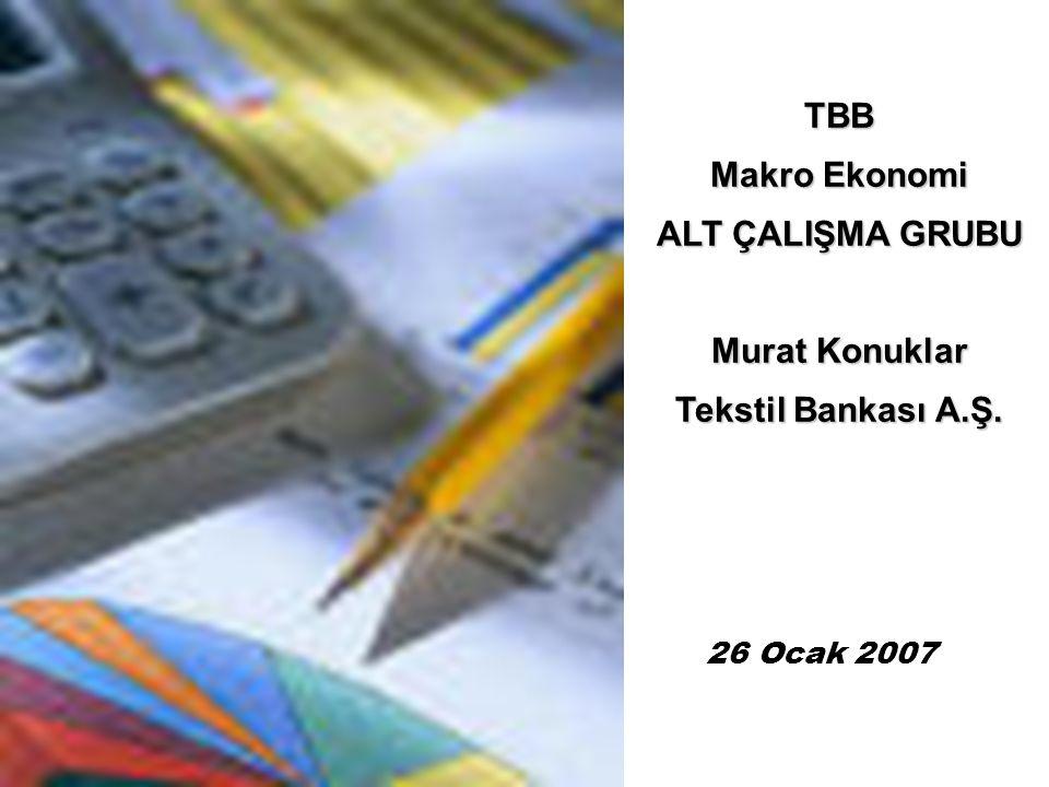 26 Ocak 2007 TBB Makro Ekonomi ALT ÇALIŞMA GRUBU Murat Konuklar Tekstil Bankası A.Ş.