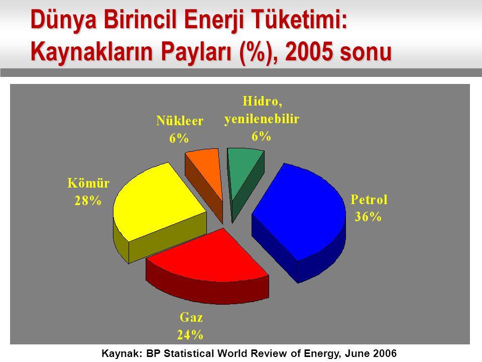 Dünya Birincil Enerji Tüketimi: Kaynakların Payları (%), 2005 sonu Kaynak: BP Statistical World Review of Energy, June 2006