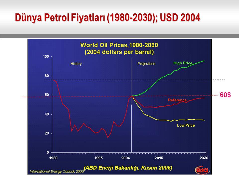 Dünya Petrol Fiyatları (1980-2030); USD 2004 60$ (ABD Enerji Bakanlığı, Kasım 2006)