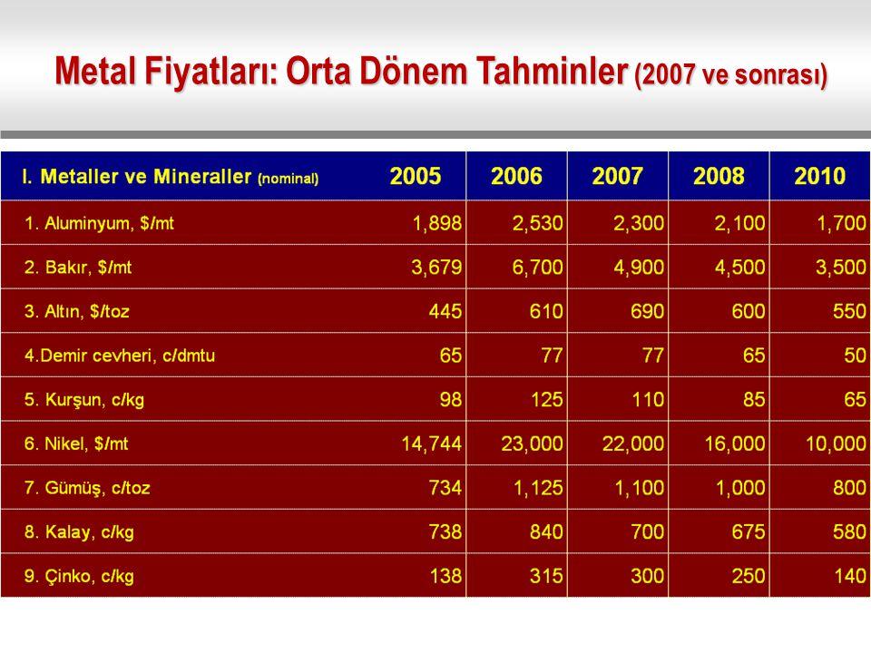 Metal Fiyatları: Orta Dönem Tahminler (2007 ve sonrası)