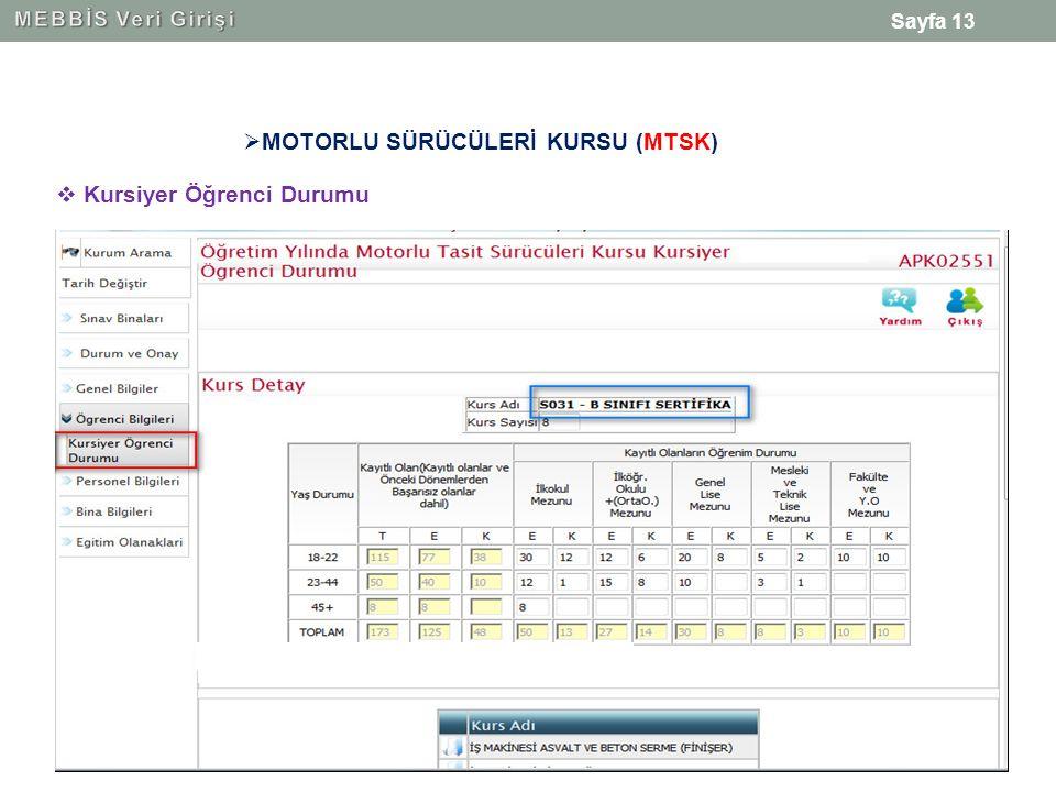 Sayfa 13  MOTORLU SÜRÜCÜLERİ KURSU (MTSK)  Kursiyer Öğrenci Durumu