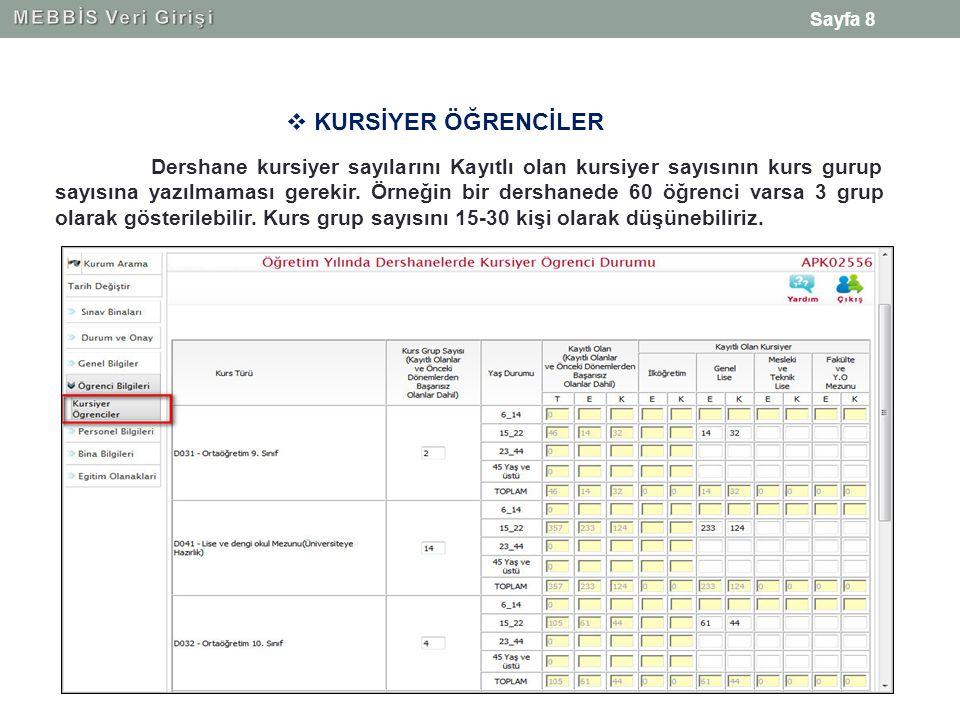 Sayfa 8  KURSİYER ÖĞRENCİLER Dershane kursiyer sayılarını Kayıtlı olan kursiyer sayısının kurs gurup sayısına yazılmaması gerekir.