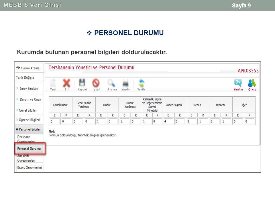 Sayfa 9  PERSONEL DURUMU Kurumda bulunan personel bilgileri doldurulacaktır.