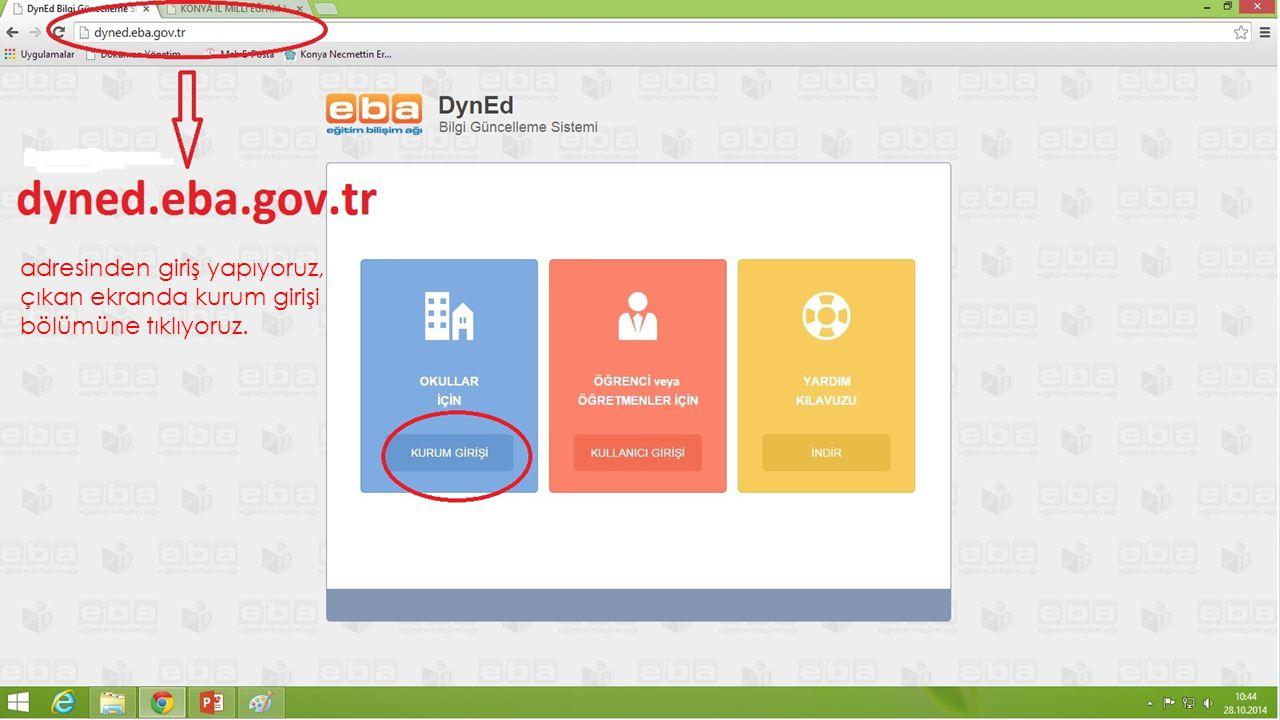 EBA şifresi oluşturulduktan sonra tekrar EBA girişine girmek istendiğinde tarayıcı ayarlarından dolayı bazen 'dyned.eba' girişi yerine 'www.eba.gov.tr' adresine giriş yapılmaktadır.