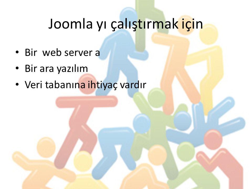Joomla yı çalıştırmak için Bir web server a Bir ara yazılım Veri tabanına ihtiyaç vardır