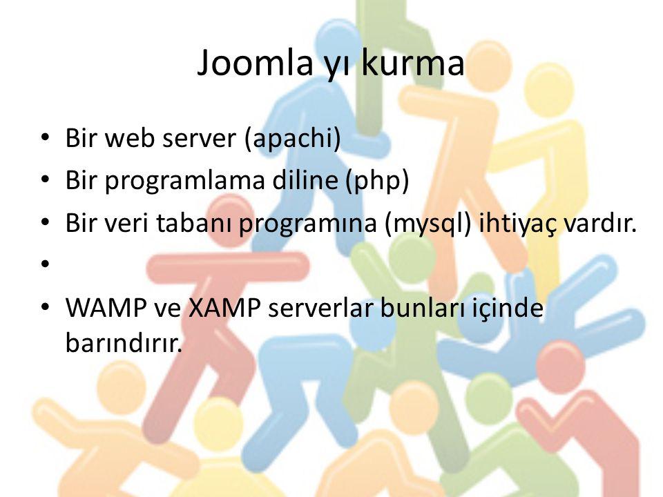 Joomla yı kurma Bir web server (apachi) Bir programlama diline (php) Bir veri tabanı programına (mysql) ihtiyaç vardır. WAMP ve XAMP serverlar bunları