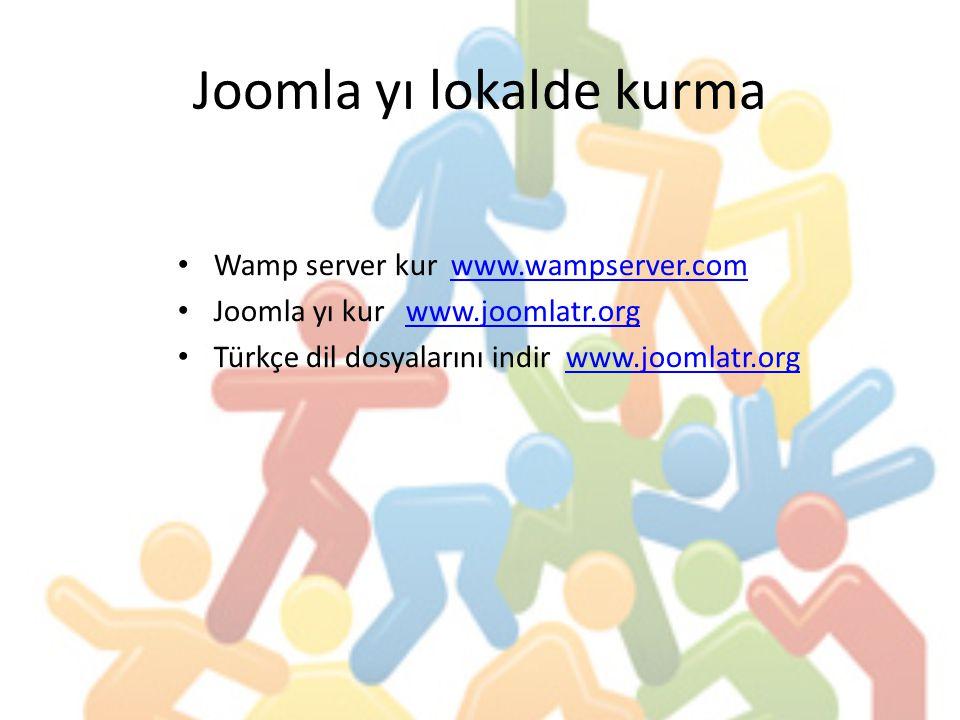 Joomla yı lokalde kurma Wamp server kur www.wampserver.comwww.wampserver.com Joomla yı kur www.joomlatr.orgwww.joomlatr.org Türkçe dil dosyalarını indir www.joomlatr.orgwww.joomlatr.org