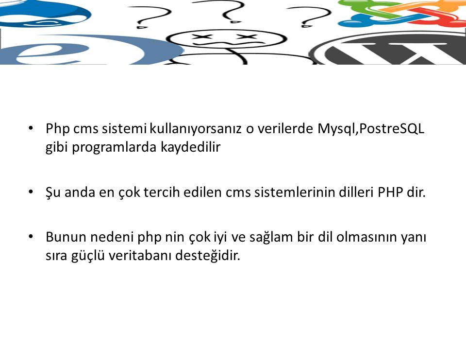 Php cms sistemi kullanıyorsanız o verilerde Mysql,PostreSQL gibi programlarda kaydedilir Şu anda en çok tercih edilen cms sistemlerinin dilleri PHP di