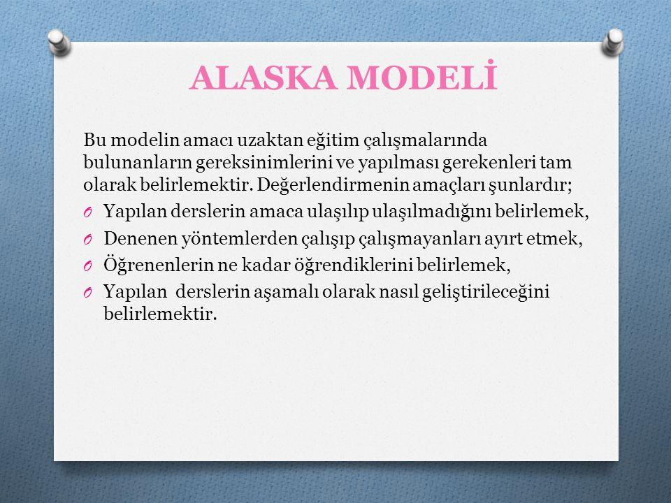 ALASKA MODELİ Bu modelin amacı uzaktan eğitim çalışmalarında bulunanların gereksinimlerini ve yapılması gerekenleri tam olarak belirlemektir. Değerlen