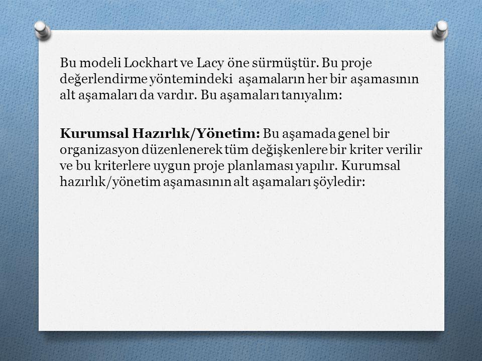 Bu modeli Lockhart ve Lacy öne sürmüştür. Bu proje değerlendirme yöntemindeki aşamaların her bir aşamasının alt aşamaları da vardır. Bu aşamaları tanı