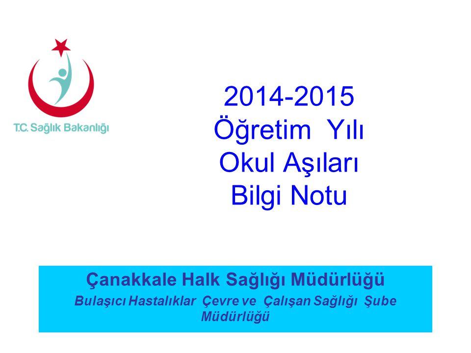 Çanakkale Halk Sağlığı Müdürlüğü Bulaşıcı Hastalıklar Çevre ve Çalışan Sağlığı Şube Müdürlüğü 2014-2015 Öğretim Yılı Okul Aşıları Bilgi Notu