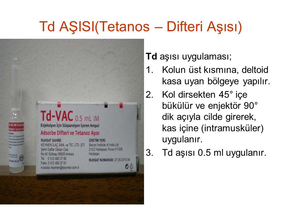 Td AŞISI(Tetanos – Difteri Aşısı) Td aşısı uygulaması; 1.Kolun üst kısmına, deltoid kasa uyan bölgeye yapılır. 2.Kol dirsekten 45° içe bükülür ve enje
