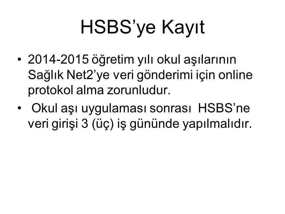 HSBS'ye Kayıt 2014-2015 öğretim yılı okul aşılarının Sağlık Net2'ye veri gönderimi için online protokol alma zorunludur. Okul aşı uygulaması sonrası H