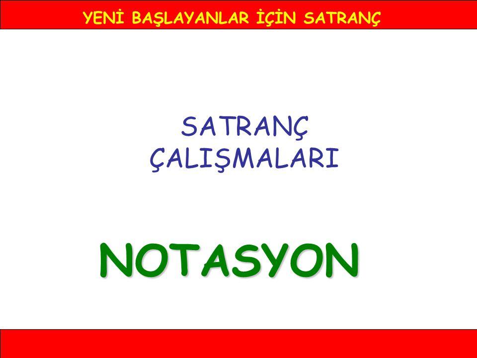 YENİ BAŞLAYANLAR İÇİN SATRANÇ NOTASYON 6- a3 8 7 6 5 4 3 2 1 ABCDEFGH