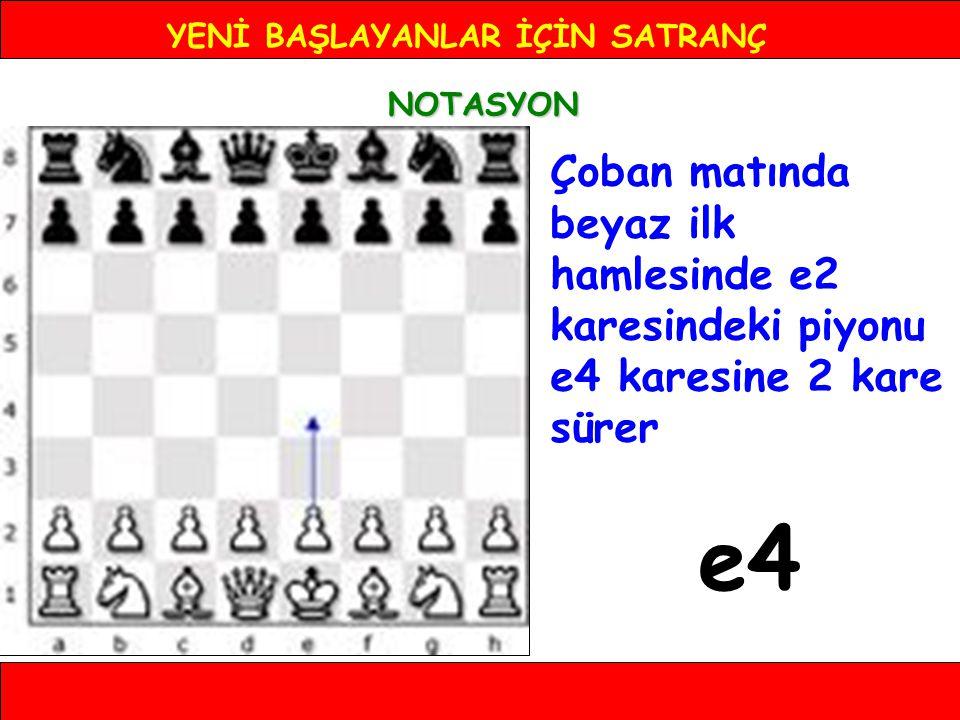 YENİ BAŞLAYANLAR İÇİN SATRANÇ NOTASYON Çoban matında beyaz ilk hamlesinde e2 karesindeki piyonu e4 karesine 2 kare sürer e4