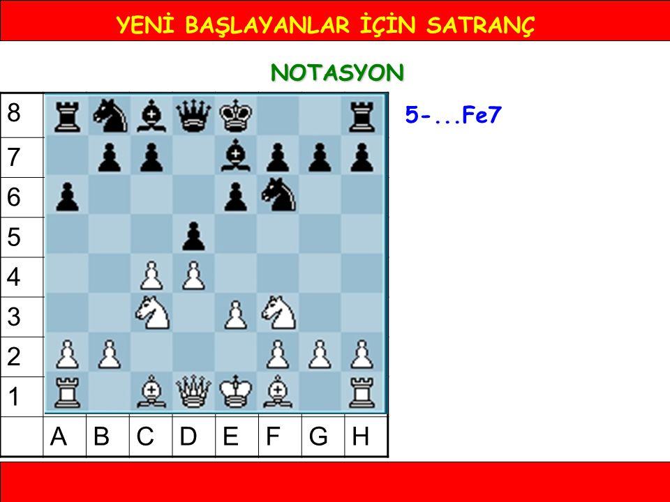 YENİ BAŞLAYANLAR İÇİN SATRANÇ NOTASYON 5-...Fe7 8 7 6 5 4 3 2 1 ABCDEFGH