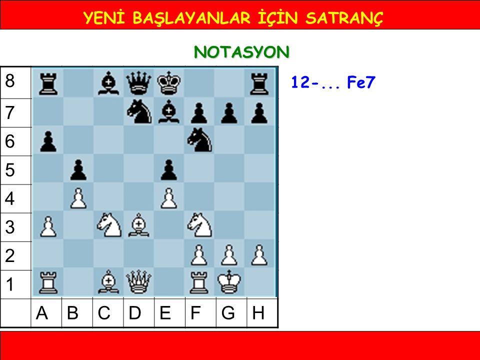YENİ BAŞLAYANLAR İÇİN SATRANÇ NOTASYON 12-... Fe7 8 7 6 5 4 3 2 1 ABCDEFGH