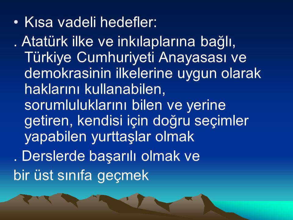 Kısa vadeli hedefler:. Atatürk ilke ve inkılaplarına bağlı, Türkiye Cumhuriyeti Anayasası ve demokrasinin ilkelerine uygun olarak haklarını kullanabil