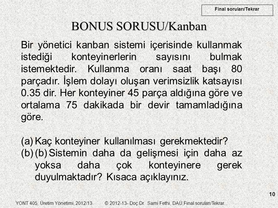 YONT 405, Üretim Yönetimi, 2012/13 © 2012-13- Doç.Dr. Sami Fethi, DAÜ,Final soruları/Tekrar. Final soruları/Tekrar 10 BONUS SORUSU/Kanban Bir yönetici