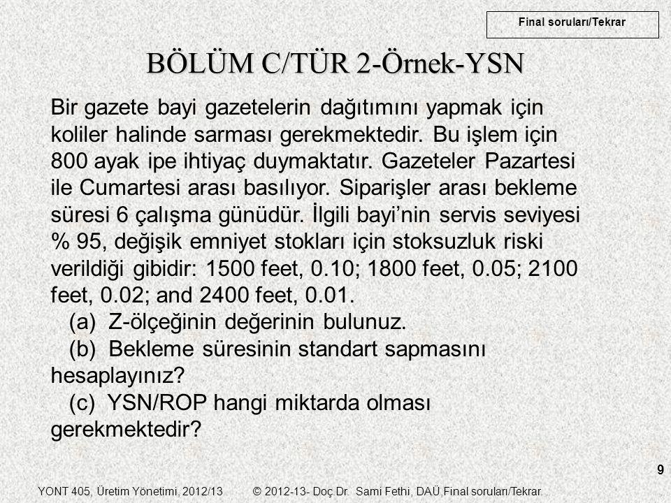 YONT 405, Üretim Yönetimi, 2012/13 © 2012-13- Doç.Dr. Sami Fethi, DAÜ,Final soruları/Tekrar. Final soruları/Tekrar 9 BÖLÜM C/TÜR 2-Örnek-YSN Bir gazet