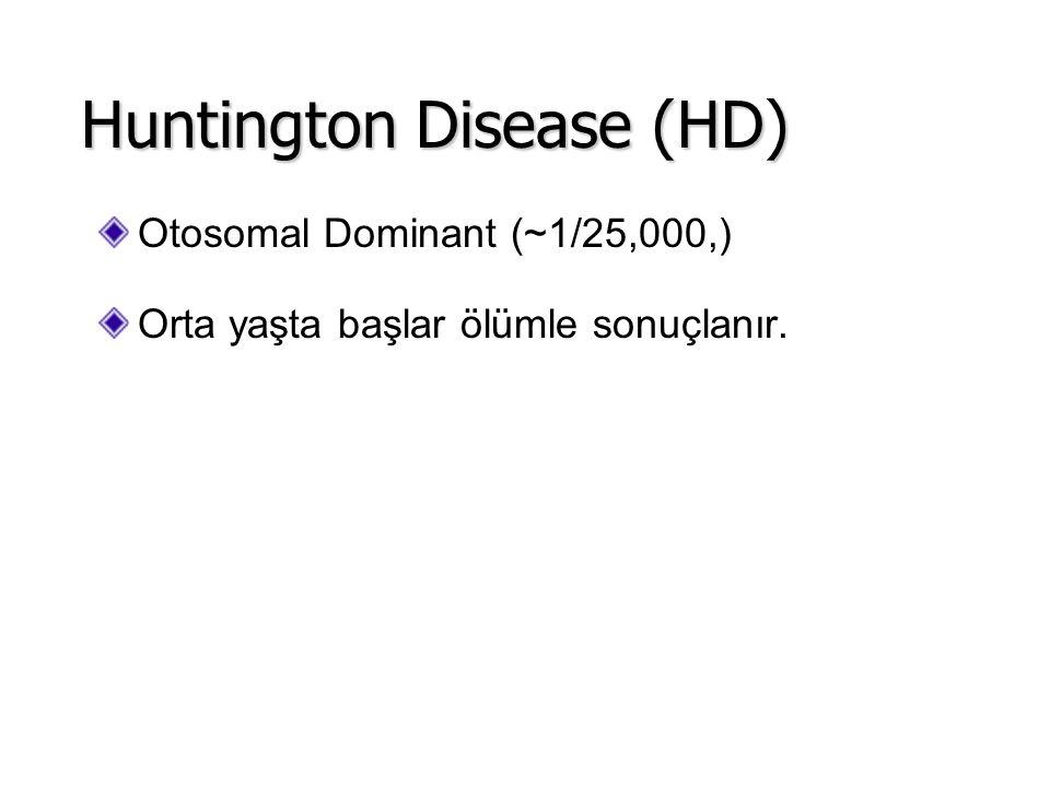 Otosomal Dominant (~1/25,000,) Orta yaşta başlar ölümle sonuçlanır. Huntington Disease (HD)