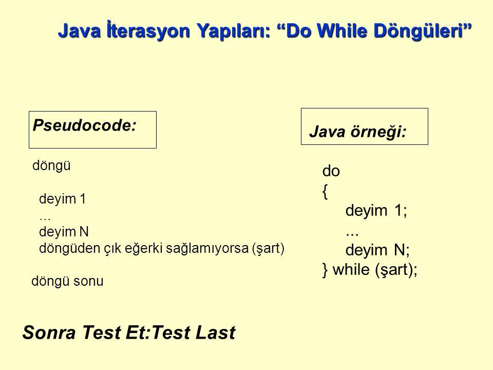 Java örneği: while (şart) { } Pseudocode: döngü döngüden çık eğerki sağlamıyorsa (şart) döngü sonu Java İterasyon Yapıları: While Döngüleri Gözcü:Sentinal