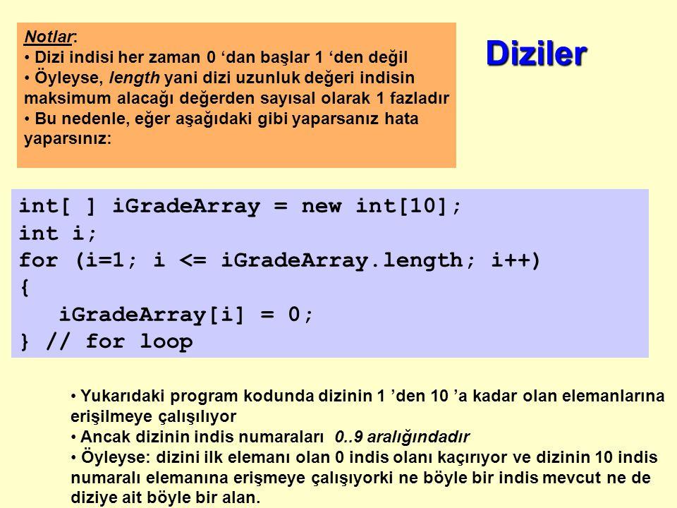 Örnek: 10 adet tamsayı türündeki notu tutmak için tamsayı türünden iNotDizisi adında 10 elemanlı bir dizi oluşturalım dizinin bütün değerlerine 0 değerini atayalım int[ ] iNotDizisi = new int[10]; int i; /* dizi işlemlerinde indis yani kontrol değişkeni olarak i,j,k gibi geleneksel olarak herkes tarafından kullanılan ve tanınan değiken isimleri kullanın.