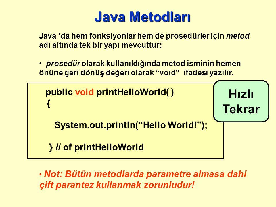Tekrar: Programlama için başlıca 3 model