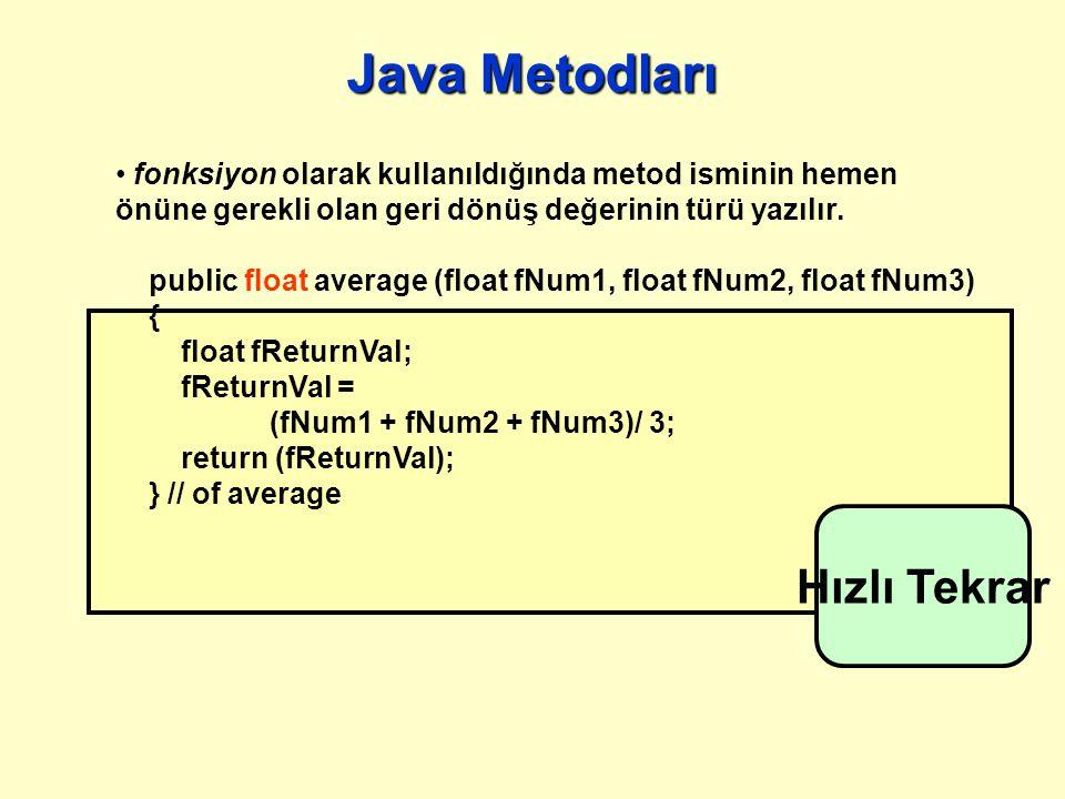 Java Metodları Java 'da hem fonksiyonlar hem de prosedürler için metod adı altında tek bir yapı mevcuttur: prosedür olarak kullanıldığında metod isminin hemen önüne geri dönüş değeri olarak void ifadesi yazılır.