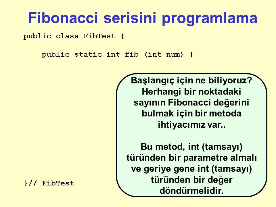 Özyinelemeli (Recursive) Fibonacci Fib(n) = Fib(n-1) + Fib(n-2), Fib(0) = 0; Fib(1) = 1; Genel Kural: Birkaç şey söyleyebiliriz bunun hakkında: Özyinelemeli olarak tanımlanmış (güzel).