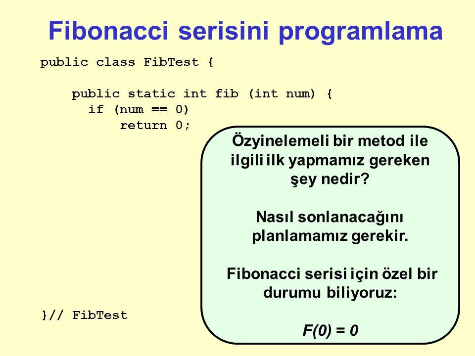 Fibonacci serisini programlama public class FibTest { public static int fib (int num) { }// FibTest Başlangıç için ne biliyoruz.