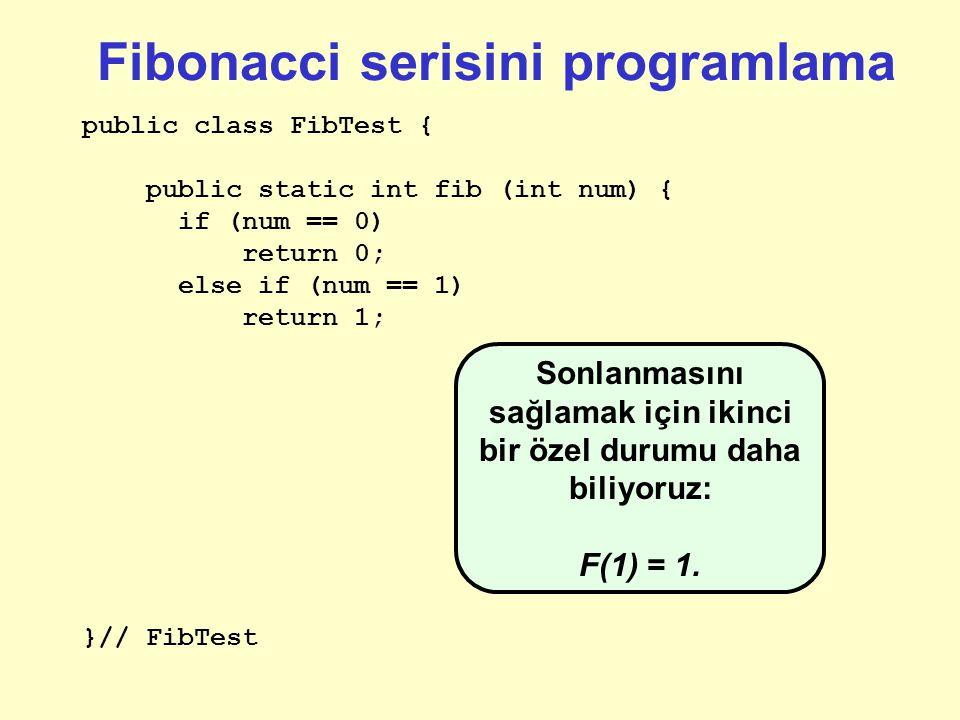 Fibonacci serisini programlama public class FibTest { public static int fib (int num) { if (num == 0) return 0; }// FibTest Özyinelemeli bir metod ile ilgili ilk yapmamız gereken şey nedir.