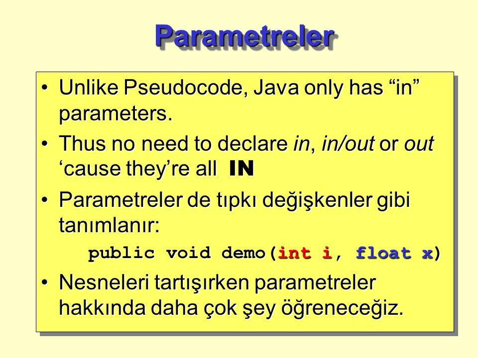 Metodların İmzaları Metodun imzası, metodun adı, ve aldığı parametre sayısı ve türlerinden oluşur.